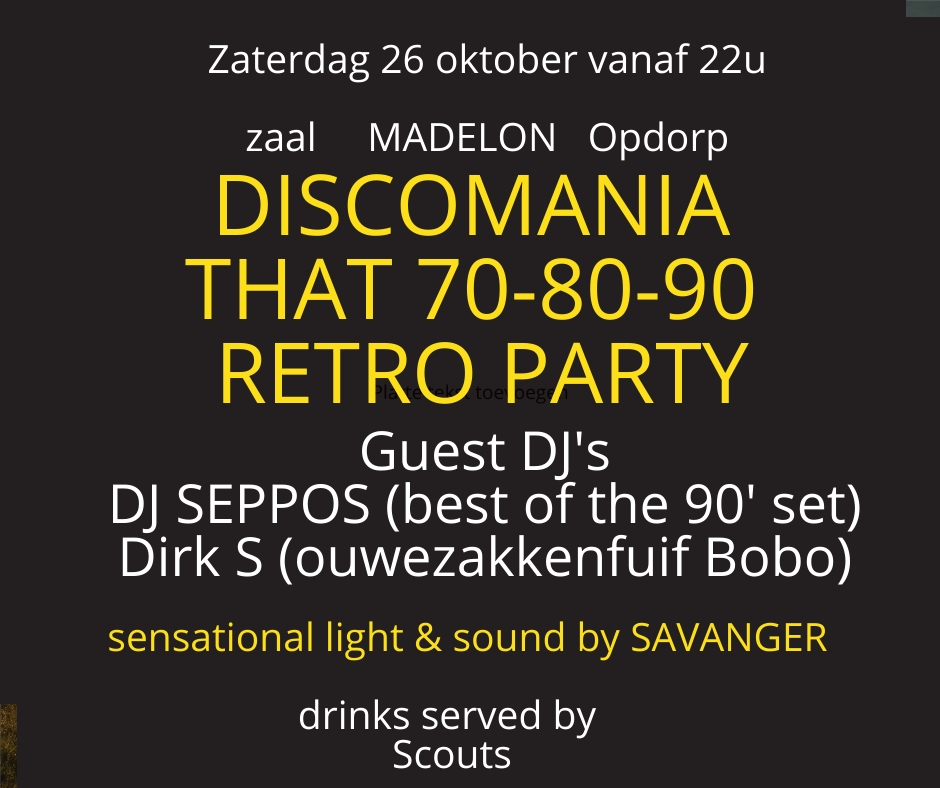 Discomania That 70 80 90 Retro Party affiche op 26/10/2019